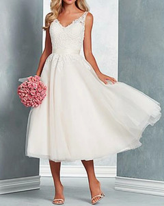 A-Line Wedding Dresses V Neck Midi Tulle Regular Straps with Bow(s) Lace Insert