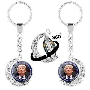 Trump Schlüsselanhänger Wahl Supplies Donald Trump Amerika groß halten Beidseitige Rotating Halbmond Schlüsselanhänger DHB1352