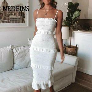 Летняя мода Sling Длинные платья женщин вскользь платье партии Женщины оборками Vestidos Плюс Размер Природные Твердые платье Женская одежда