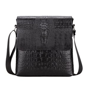 Crocodile Pattern Men Bag Business Men Messenger Bags Vintage Crossbody Bag Pu Leather Male Shoulder Bags Man Handbag WBS420