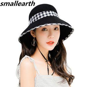 2020 Summer Sun Hat For Women Large Brim Floppy Summer Cotton Bucket Hats Female Beach Foldable Visor UV Caps Casual Basin Cap