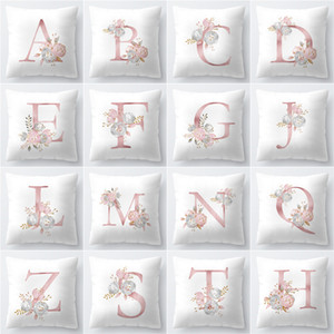 Fashion 26 English Letter Cushion Covers Home Decor Pillow Case Pattern Sofa Cushions Bedding Sets Soft Flower 4md D2