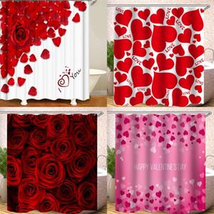 180x180cm Shower Curtain Impressão Digital Bath Cortinas de poliéster Water Proof Heart Shaped Rose Petal Design Quente Venda 26hs B2