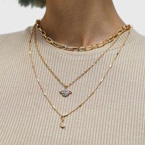 Women Fashion Pendant Necklace 2020 New Charm Starry Sky Moon Rhinestone Diamonds Multi-layer Chokers Necklaces Sweater Chain Jewelry Gift