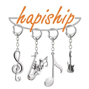 Hapiship 2020 Women Men's Fashion Handmade Vintage Guitar Music Note Key Chains Key Rings Alloy Charms Gifts YSDY202