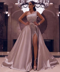 Sparkly Sequined One Shoulder Sexy Sheath Prom Dresses High Side Split Evening Gown With Detachable Train Formal Dress Evening Party Gowns