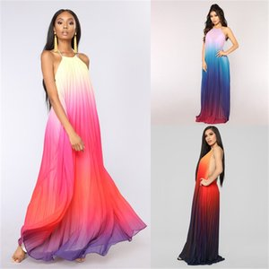 Mousseline de soie Womens Robes d'été dégradé de couleur manches Femme Robes Designer en vrac Sexy Robes De Mujer