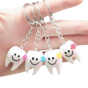 20 pcs Keychain Key Ring Hang Tooth Shape Cute Dental Gift