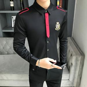Мужские рубашки с длинными рукавами Ночной клуб волос Стилист Bow Tie работа рубашка Slim Fit черный белый Одежда мужская рубашка