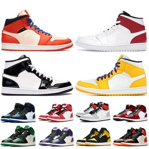 2020 Mid Shattered Backboard Black Gold 1 1s Basketball shoes Jumpman 1 trainers White Gym Red Yellow Lakers sports sneakers off size 12