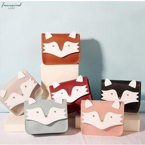 New Women Cute Fox Flad Pu Leather Handbag Fashion Shoulder Messenger Travel Purse Phone Bag Case