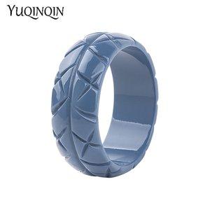 Trendy Resin Cuff Engraved Bracelets Bangles Women New Fashion Acrylic Round Wide Bracelet Female Charm Wedding Jewelry Girls