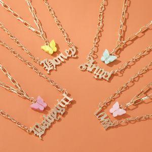 Doux Populaire mode en couches Collier Filles acrylique papillon double couche Lettre Alphabet Ange collier pendentif bijoux cadeau pour les femmes