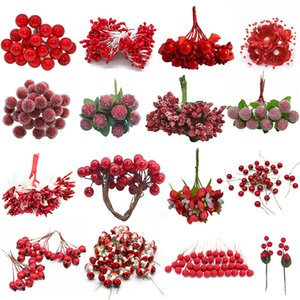 Cheap Red Gold Mixed Hybrid Flower Cherry Stamens Berries Bundle DIY Cake Christmas Wedding Gift Box Wreaths Craft Decoration