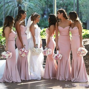 2020 Pink Sweetheart Long Bridesmaid Dresses Summer Ruffles Satin Mermaid Maid Of Honor Gowns For Wedding Plus Size Bridesmaid Dress Cheap