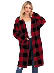 Plaid delle donne con scollo a V Pulsante Trench Donna Autunno Inverno Fly Pocket Alta Moda Cardigan Loose Women Giacche a vento