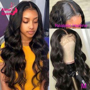 Тело волны поддельных кожи головы парик сброшенные прозрачные HD кружева парик 360 кружевной фронтальный парик невидимые отбеленные узлы Remy кружевные фронтальные парики
