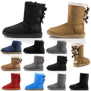 Boots Yeni kadın Avustralya Klasik diz Çizmeler Ayak Bileği çizmeler Siyah Gri kestane lacivert Kadınlar kız çizmeler Boyutu ABD 5-10