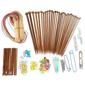 AFBC Knitting Needles Set-18 Pairs 18 Sizes Bamboo Circular Knitting Needles + 36 Single Pointed Bamboo + Weavi