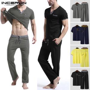 INCERUN Patchwork Men's Sets Homewear Short Sleeve V Neck T Shirt Pants Bodybuilding Workout Men Suit Casual Pajamas Sets S-5XL