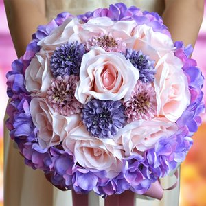 Rosa Flor LoveGrace Novia Ramo subió boda púrpura de Bohemia romántico ramo de la flor artificial de la boda de Ramos