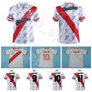 River Plate Vintage-Jersey 1986 1996 Retro Fußball Caniggia Francescoli Weiß Breath Fußball-Hemd Kits Größe S-XXL Custom Name Nummer