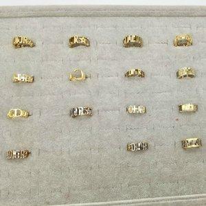 D harfi logosu moda elmas yüzükle lüks takı bayanlar tasarımcı halka altın ayarlanabilir halka