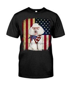 Erkekler T Shirt POODLE - FLAG AMERİKAN (1) Kadınlar tişörtleri