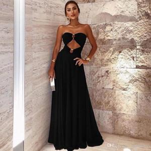 Seksi 2021 Küçük Kara Abiye Örgün Maxi Elbiseler Sweethart Hollow Uzun Özel Durum A Hattı Önlük Prom Parti Giyim