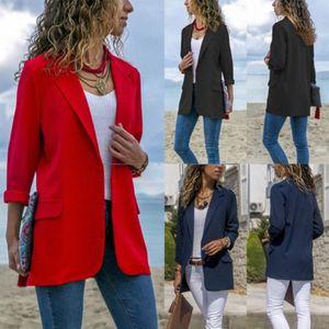 Kadınlar Sonbahar Laple Blazer Ceket Ladie Ofisi Uzun Kollu Ceket Dış Giyim 8gvu #