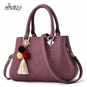 HISUELY Горячая продажа новых женщин PU кожаные сумки дизайнер моды черный Vintage Tassels сумки плеча Сумка высокого качества