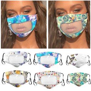 5 estilos de diseño Máscaras Máscaras mujeres de los hombres de verano lavable de algodón transpirable florales máscara máscaras de tela del remiendo de plástico transparente WX20-29