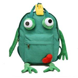 nuova cute quattro zampe borsa da viaggio di grande capacità alla moda sacchetto della tela di canapa zaino zaino delle donne fumetto delle donne rana tutto-fiammifero della tela di canapa