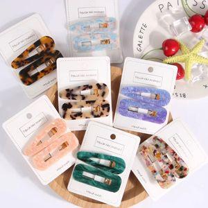 2020 New Fashion Colorful Material Hair Pins Drop Shape And Oblong Design Acetate Barrettes Wholesale 12sets lot (2pcs set)