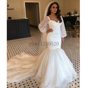 Sparkle Mermaid Wedding Dresses 2020 Sweet Heart Long Sleeve Sweep Train robes de mariée Bridal Gowns for Women Plus Size Customized