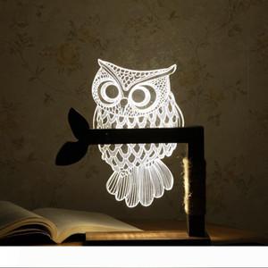 홈 3D 올빼미 모양의 LED 데스크 테이블 라이트 램프 밤 빛 미국 플러그 실내 조명