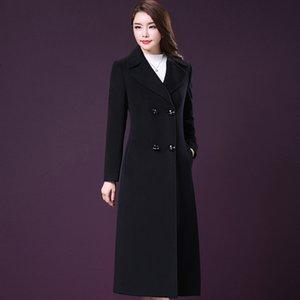 Ekstra uzun Coat yün Yün sonbahar ve kış tr Yeni aşırı diz yün ceket ince-fit çift göğsü