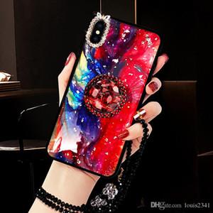 Роскошный блеск мрамора алмаз держатель кольца силиконовый телефон случае для Iphone 7 8 плюс X XR XS 11 Pro MAX моды крышки с талрепом