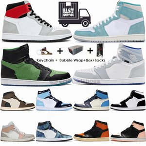 1s Light Smoke Серый Трэвис Скоттс 1 Баскетбольная обувь UNC Twist Turbo Green Tie Dye Obsidian Jumpman Кроссовки мужские инструкторам Box 36-47