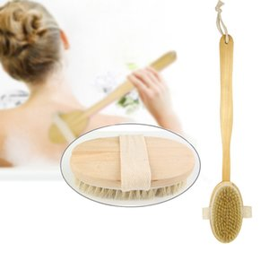 Wooden Cleansing Brushes Natural Bristle Body Brush Massager Bath Shower Brush Long Handle Back Spa Scrubber 7*42cm FFA3028-3