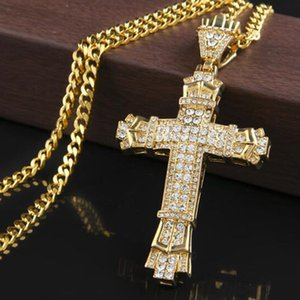 Fashion Statement Women Men Bling Rhinestone Cross Pendants Necklaces Hip Hop Jewelry Long Chain Gold Silver Color Big Necklace