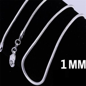 925 Sterling Silver Plated Snake Chain Necklaces for Woman Lobster Clasps Smooth Chain Statement Jewelry Size 1mm 16 20 inch a263