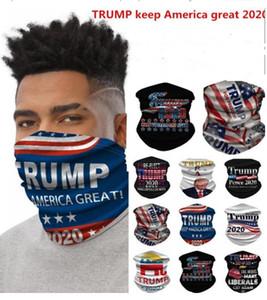 Máscaras caliente Bufanda de ciclo para hombres y mujeres Unisex Pañuelo Pañuelos Pañuelo de cabeza de la motocicleta del cuello de la mascarilla al aire libre Trump Keep America 2020 Gran