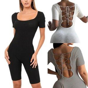 Women Adults Short Sleeve Body Shaping Back Lace Up Siamese Playsuit Female Yoga Pants Bandage Jumpsuits Clothing