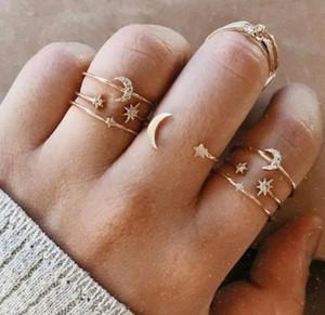7pcs / set Sistemas anillo del estilo de Boho para los regalos de boda Mujeres Banda circón de cristal anillos de dedo del partido del anillo de la estrella de la luna plateada oro de la vendimia conjunto de joyería