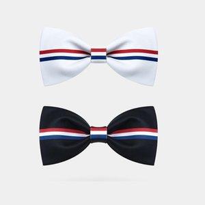 Düğün Damat Sağdıç İş Elbise Fransız Bayrak için Erkekler Yaratıcı fiyonk, Beyaz / Siyah Boyun Tie, Mavi Kırmızı Çizgili