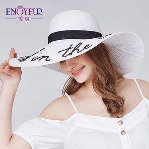 ENJOYFUR Fashion letter pearl sun hat wide brim summer beach hat 2018 new arrival good quality straw cap Y200619