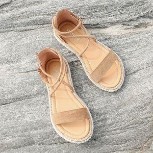 ABER Kadınlar Sahte Süet Sandalet Moda Yaz Ayakkabı Kadın Düz Sandalet Halat Lace Up Gladyatör Sandalet Kaymaz Plaj Chaussures Femme