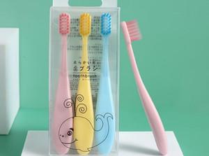 Macaron Çocuk Diş Fırçası 3 Paketi İnce Yumuşak Saç Bebek Diş Fırçası Şeker Renk Çocuk Diş Fırçası Karikatür dropshipping