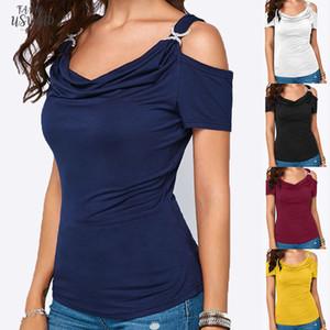 Women Casual Cold Shoulder Draped Collar Shirt Short Sleeve Top T Shirt 20 Drop Shipping Good Quality